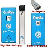 Delta 8 Cookies High Flyers Disposable Vape Pen E Cigarettes 1.0ml full gram Ceramic Pods Vapes Pens 240mah Rechargeable Vaporizer Packaging Starter Kit Empty