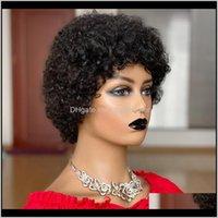 منتجات Dropless Drop التسليم 2021 قصير غريب مجعد الباروكة بيكسي قص البرازيلي ريمي الأفرو النفخة الشعر البشري للنساء ماجين كامل صنع الباروكات