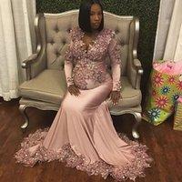 럭셔리 Applique 레이스 인어 임신 여성 댄스 파티 이브닝 드레스 긴 소매 깊은 V 넥 섹시한 공식 가운 출산 2019