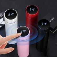 Nueva moda elegante taza de temperatura de la temperatura de la temperatura del vacío botella de agua de acero inoxidable taza termo taza con la pantalla táctil LCD regalo de la taza de regalo HWC7639