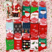 Home Christmas Decoration Winter Women Lovely Cartoon Red Snowflake Elk Cotton Soft Comfort Socks Wholesale
