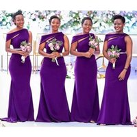 Purple Long Bridesmaid Dresses 2021 African Black Girl Women Satin Mermaid Wedding Party Dress Prom Formal Wear Maid Of Honor Robes Plus Size Vestidos Custom AL9048