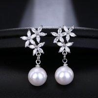 Dangle & Chandelier Fashion Leaf Heart Zircon Earrings Female Luxury Fresh Round Pearl Drop Earring Wedding Gifts For Guests Trendy Jewelry
