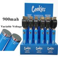 Cookies Vape Pen Battery E Сигарета 900 мАч Твист Нижний Спиннер Предварительный нагрев с USB Charger Vaporizer 510 Резьбовые аккумуляторы Перезаряжаемые 30 шт. Установлена Упаковка дисплея