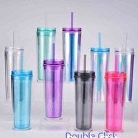18oz Personalized DIY Acrylic Tumblers With Lids and Straws BPA Free Plastic Skinny Tumbler Double Wall Cups