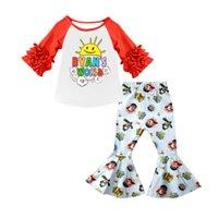 Fashion Girls Clothes Set short sleeve shirt top bell bottom pants Shark-baby print cartoon kids outfits