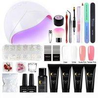 COSCELIA 4pcs set Poly Extention Gel Kits Nail Art French Nail With LED UV Lamp Full Manicure Set UV Gel Polish Kit