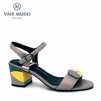 Vair Mudo Femme Sandales Femmes Sandales Véritable Talon épais Chauche Chaussure Strap Sprape Spring Chaussures Couture Couleur Couleur Couleur Dame LX29 87m3 #
