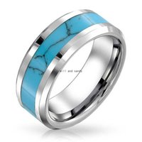 Stainless Steel Natural Turquoise ring band finger women Men's Inlay Natural Stone Rings fashion jewelry will and sandy