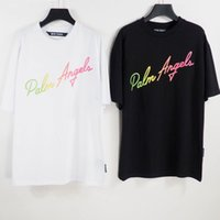 Palms Mens Angels Chao brand palm drop shoulder T-shirt real correct version PA Angel casual color letter printing short sleeve