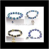 Fatima Hand Hamsa Armband Schmuck Frauen Mann Gold Sier Farbe Mode Blau Devil Evil Eye Plam Glocke Perlen Anker Charme Armbänder Ypnve THMD5