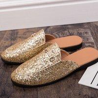 DEAT 2020 Yeni Yaz Moda Topuk Ücretsiz Tembel Sivri Anti Manşet Sequins Terlik Dışında Ayakkabı Kadın SE622 F2YW #