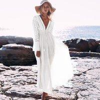 Günlük Elbiseler Ayualin Dantel Beyaz Yaz Elbise Seksi Derin V Boyun Uzun Kollu Plaj Yüzme Kapak Up 2021 Vintage Kadınlar Boho Vestidos