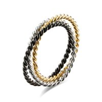 Link, Chain Titanium Steel Three-ring Threaded Couple Ring Interlocking Universal Tail For Men And Women