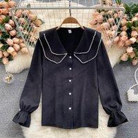 Women's Blouses & Shirts 2021 Autumn Temperament Blouse Female Lapel Double Beaded Blusa Slim Shirt Top DF119