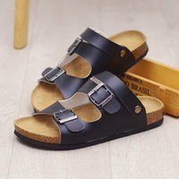 Slipper Kids Slippers Solid Color Leather Summer Shoes Open Toe Casual Beach Parent Child Big Children Boy