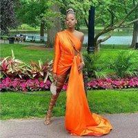 Simple One Long Sleeve Orange Prom Dresses For Black Girl 2022 Side Split Cocktail Party Gowns Satin Vestido De Novia