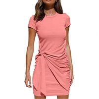 Casual Dresses 2021 Summer For Women Loose Short Sleeve Solid Color Cotton Blend Sexy Dress Woman Mini Sundress