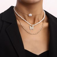 Chokers Vintage Boho Multilayer Pearl Choker Butterfly Pendant Chain Necklace For Women Hip Hop Gold Color Collar Party Jewelry Gift
