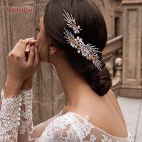 Wedding Tiara Hair accessories Golden Bridal Headpieces Comb Pearl Clips Diamond Piece for Women