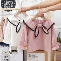 White Blouse Baby Girl Long Sleeve Tops Spring Fall Clothes Cute Navy Collar Toddler Blouse Casual Korean Ruched Sleeve Shirt