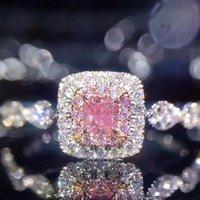 Hearts Chrome Baojiali Plated 925 Silver Color Gold Micro Inlaid Imitation Diamond Ring Square Princess Women's