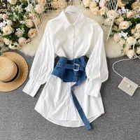 Women's Blouses & Shirts Lady Retro Jeans Corset Work OLAutumn Shirt Women Long Sleeve White Korean Fashion Clothing Blouse Tops P