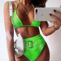 높은 허리 비키니 벨트 수영복 여성 수영복 섹시한 마이크로 비키니 세트 수영복 여름 Bathers Buquini