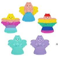 30 cm büyük boy Cadılar Bayramı fidget oyuncaklar itme kabarcık kurulu gökkuşağı kravat boya örümcek web unicorn prenses şeklinde parmak bulmaca masaüstü HWF10394