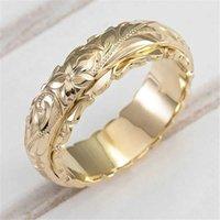Anello anelli d'oro vintage anelli di nozze per donne creative rosa fiore promessa donne semplici metallo femmina gioielli di fidanzamento regali