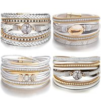 Tennis DIEZI Bohemian Multilayer Crystal Wrap Bracelets For Women Gift Magnet Buckle Silver Color PU Leather Bangles 2021