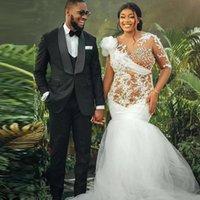 Vintage Arabic Style Illusion Mermaid Wedding Gowns O Neck Bead Africa Bridal Gown Long Sleeve Lace Appliques Vestido De Novia 2021
