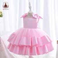 Vestidos da menina Yoliyolei Tecido de cetim do vestido infantil Bonito Bowknot moda meninas formais roupas tamanho 2-5 crianças festa de aniversário para menina