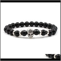 Charm Bracelets Jewelrycharm Natural Stone Set Siery Skull Bracelet For Men And Women Aessories Elastic Wholesale1 Drop Delivery 2021 Plbop