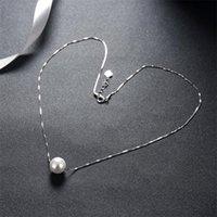 Prevenzione di allergia 925 sterling argento catena di collegamento perla fascino collana pendente collana donna girocollo partito gioielli dichiarazione collare DZ641