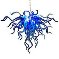 Северные стеклянные подвесные светильники освещения синего промышленного висит G9 лампы 28 на 24 дюйма настежка кухня Hotel Art украшения люстры