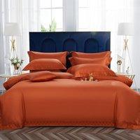 Luxuries Premium 1000TC Египетский хлопок 4 шт. Подоюжного покрытия Набор с угловыми галстуками, Мягкие шелковистые оранжевые зеленые постельное белье.