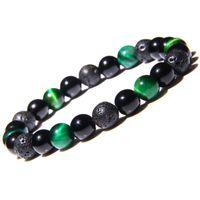 Natürliche Steinperlen Armbänder für Frauen Männer Lava Rock Tiger Eye Healing Energy Perlen Ketten Bangle Modeschmuck Geschenk 313 G2
