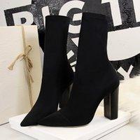 2021 kadın streç çorap botları blok yüksek topuklu fetiş yeşil ayak bileği çizmeler striptizci ince tıknaz ipek saten kaliteli ayakkabı 1