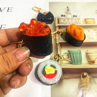 سوشي نموذج سلاسل المفاتيح المطبخ اليابانية حقيبة قلادة هدية الإبداعية سيدة مفتاح سلسلة بالجملة