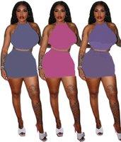 Designer Frauen Zwei Teil Sommer Kleid Anzug Halfter Camisole + MiniKirts Brief Drucken Gaze Kleider Plus Größe 2XL Röcke Blaue Schwimmanzüge Purple Swimwears DHL 4716