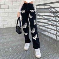 나비 인쇄 블랙 데님 Y2K 바지 여자 청바지 여자를위한 여성 패션 빈티지 긴 하이 웨이스트 바지 하라주쿠 카프리