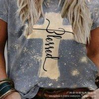 NH0 2021COAT LOSE Rundhals-Frauen-T-Shirt Kurzarm Kreuz gedruckt 2021 Frauenscoat T-Shirt Top Top Loose Rundhals-Kurzarm