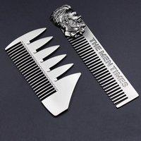 Cheveux Brushes Gentelman Barber Styling Silver Métal Peigne En Acier inoxydable Portable Sculptable Pocket Taille Taille Hommes Barred