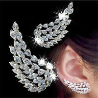 Choucong Unikalny Cocktail Ear Cuff Luksusowa Biżuteria 925 Sterling Silver Full Marquise Cut White Topaz CZ Diamentowe Gemstones Kobiety Party Kąt skrzydła Klip Kolczyk Prezent