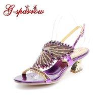 G-Sparrow 2021 Kore Moda kadın Mor Zarif Rhinestones Düğün Sandalet Artı Boyutu Rahat Elmas Ayakkabı Yüksek Kalite
