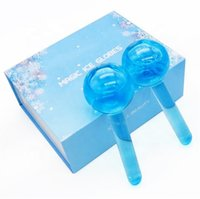 Blue Large Magic Ice Globes Hockey Energy Face Massager Beauty Crystal Ball Facial Cooling Globe Water Wave For Eye massage 2set