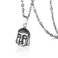 فاسق الرجعية الفولاذ المقاوم للصدأ بوذا ساكياموني قلادة القلائد للرجال إسقاط المجوهرات البوذية