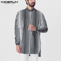 Fashion Men Striped Shirt 2021 Long Sleeve Stand Collar Leis...