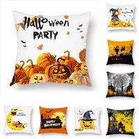 Halloween Pumpkin Witch Castle Pillow case Print Interesting pattern cartoon Cushion Cover Floral Pillowcase Sofa Decor Home 45x45cm ZXF0216